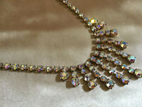 VINTAGE Rainbow Aurora Borealis Crystal Waterfall Iridescent Necklace Collier #3