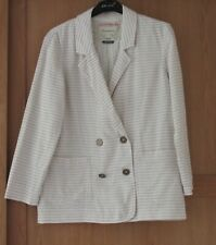 Ladies Cartonnier Cream Stripe Boyfriend Jacket / Blazer Size S
