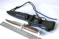 VINTAGE COMPASS SOLINGEN GERMANY LEATHER HANDLE 840 ORIGINAL BOWIE KNIFE Unused