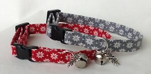 🎄Handmade Snowflake Cat Collar, Safety Release Buckle, Bell, Charm