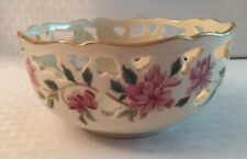 Lenox Bowl With Floral Design, Cut Outs And Gold Trim