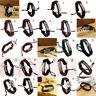 Vintage Multilayer LederKreuz Armband Manschette Charme Armreif Männer Frauen YR