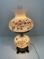 """VTG. Hedco 3000  Rare 22"""" Hurricane Table Lamp Hand Painted Pink Petal Flowers"""