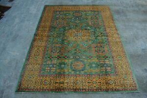 F1739 Stunning Hand Knotted Afghan Chubi Oriental Wool Area Rug 6 x 7'10 Feet