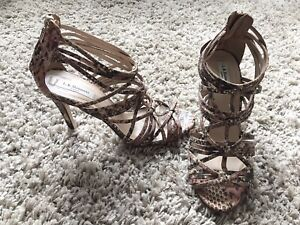 L.K Bennett Harnett snake Print strappy Heels stiletto sandals shoes 7 UK beige
