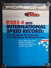 PORSCHE 928 S4 INTERNATIONAL SPEED RECORD BONNEVILLE SHOWROOM POSTER 1986 1st Ed