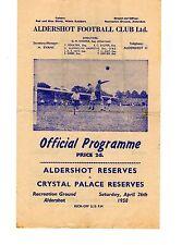 Aldershot v Crystal Palace Reserves Programme 26.4.1958 Football Combination