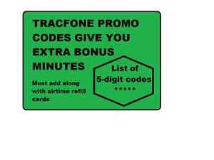 TracFone BONUS Minutes Promo Codes (use along w/airtime refill card )+SURPRISE