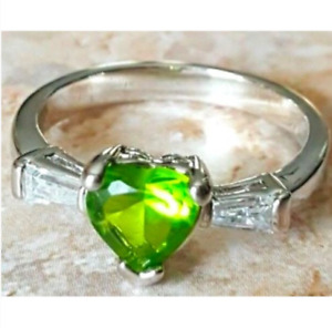 Ladies Silver Plated Birthstone Ring Green C Z Size 3.5 ,6.5