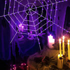 11.8FT Halloween 144LED Spider Web Outdoor Decor Party Light Up Cobweb Lighting