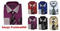 Men's Fashion French cuff Dress shirt with Solid/Polka Dot DesignTie&Hanky FL630