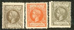 1CUBA-1898-99 SC # 167-169,-MLH