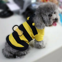 Pet Dog Cat Bumble Bee Wings Fleece Hoody Coat Costume Puppy Apparel Clothes