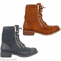 Zipped Military Army Combat Biker Boots Lace Womens Ladies Quilted Ankle Cuff