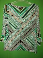 4346) NWOT LIZ CLAIBORNE 2X green geometric pullover polyester knit top new 2X