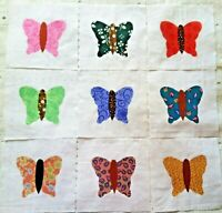 9 Cotton Fabric Quilt Top Blocks 6 Inch Square  Butterfly Appliques in Blue
