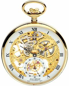 Skeleton Pocket Watch Open Face 17 Jewelled Mechanical Gold Plated Case Luxury