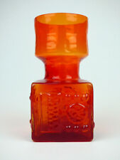 More details for dartington flame red abstract hyacinth vase ft65 frank thrower 1968 'troika'