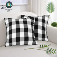 Farmhouse Decor Pillow Covers Black & White Buffalo Checkers Plaids Cotton Throw
