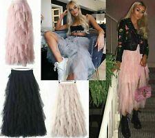 Womens Elastic High Waist Ruffle Mesh Tulle Tutu Skirt Pleated Beach Long Dress