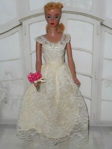 Vintage Barbie CLONE LACE WEDDING BRIDESMAID DRESS SEQUIN ACCENTS GLASS SHOES