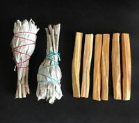 6 Palo Santo Wood & 2 White Sage Smudge Torch: Cleansing Negativity Removal new