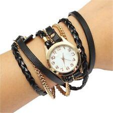 Reloj de correa de cuero sintetico retro de mujer de moda Reloj de pulsera U7S3