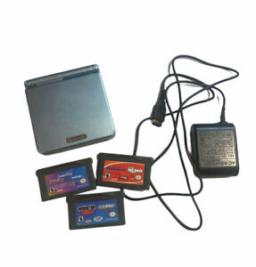 Nintendo Gameboy Advance SP Pearl Blue AGS-101 with Charger & 3 Games