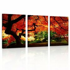 Canvas Print Picture Painting Photo  Home Decor Landscape Red Trees Framed