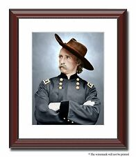 """General Custer Soldier Union 11x14"""" Framed Photo Print Color Civil War -05340"""