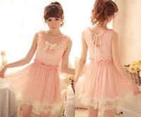Kawaii Trendy Princess Cute Sweet Dolly Gothic Punk Lolita BOWS Lace Dress Pink