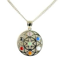 """Circle of Life Chakra Natural Stone Pendant Necklace, 18"""" Chain and 3"""" Extender"""