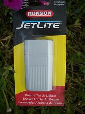 RONSON JETLITE WINDPROOF BUTANE TORCH LIGHTER, SATIN W/ ENGRAVING PANEL