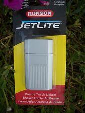 RONSON JETLITE WINDPROOF BUTANE TORCH LIGHTER, SATIN W/ ENGRAVING PANEL