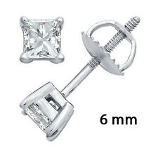 Screwback 925 Sterling Silver Cz Stud Earrings 6Mm Square