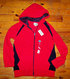 New! Boys THE CHILDREN'S PLACE Red & Black Fleece Hoodie Shirt Large 10 / 12