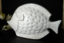 Unique Ocean Fish Art Studio White Glazed Ceramic Porcelain Large Figurine Gift