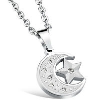 Silver Moon and Star CZ Surgical Stainless Steel Pendant with Necklace Gift