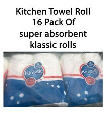 Kitchen Towel Roll 16 pack of 2ply super absorbent klassic rolls