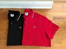 LOT OF 2 LACOSTE AUTHENTIC MENS COTTON SZ 8 XXL POLO Shirts Red Black Great Con
