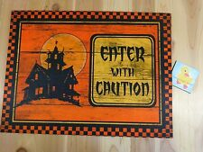 "Halloween Door Mat ENTER WITH CAUTION Haunted House 18x24"" Orange Black Rubber"