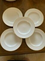 Pottery Barn Gigi Discontinued White Salad Plates Gold Trim Set of 5