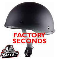 Crazy Al's WORLD'S SMALLEST SOA Style DOT Flat Black Half Helmet-FACTORY SECONDS