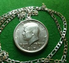 "Uncirculated 1971 Kennedy Half Dollar Pendant on a 26"" .925 Linked Silver Chain"