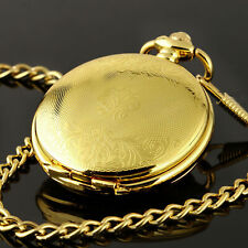 Mens Pocket Watch Mechanical Gold Case Hollow Hands Chain Hand-winding