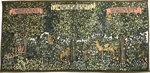 Classic Verdure William Morris Tapestry Wall Hanging Wood Forest Animals 62x27""