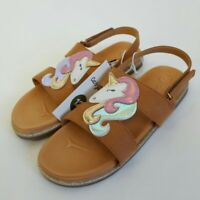 NEW! Cat & Jack Toddler Girls' Brown Glitter Unicorn Ankle Strap Sandal 10,11,12