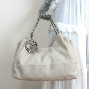 Chanel Baby Coco Cabas Shoulder Bag Off-White Quilted Leather Large Tote