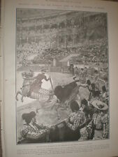 President Loubet of France at a Madrid bull fight in Spain 1905 old print