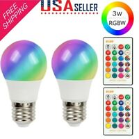 2Pack E26 E27 LED Light Bulb RGB 16 Color Changing 3W Magic Lamp Disco IR Remote